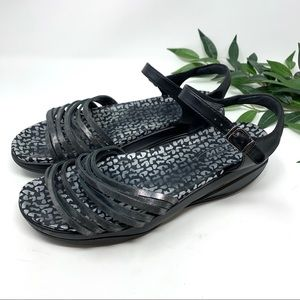 MBT Black Metallic Leather Comfort Sandal 43